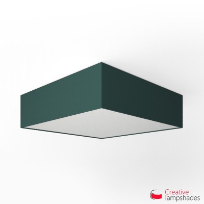 Square ceiling lamp with Petrol Blue Cinette cover