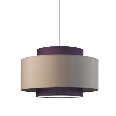 Lampe à suspension, triple cylindre, Tourterelle - Violet diam. 50 h 30 avec diffuseur.