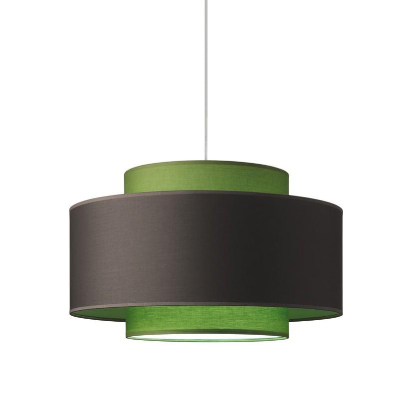 Lampe à suspension, triple cylindre, Cendre - Vert Olive diam. 50 h 30 avec diffuseur.