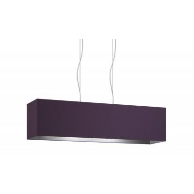 Lampe à suspension rectangulaire 2 points lumière double tissus Violet - Cendre cm 99 x 24 h25.