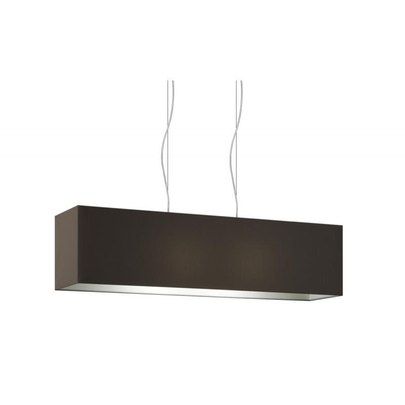 Lampe à suspension rectangulaire 2 points lumière double tissus Gris Tourterelle cm 99 x 24 h25.