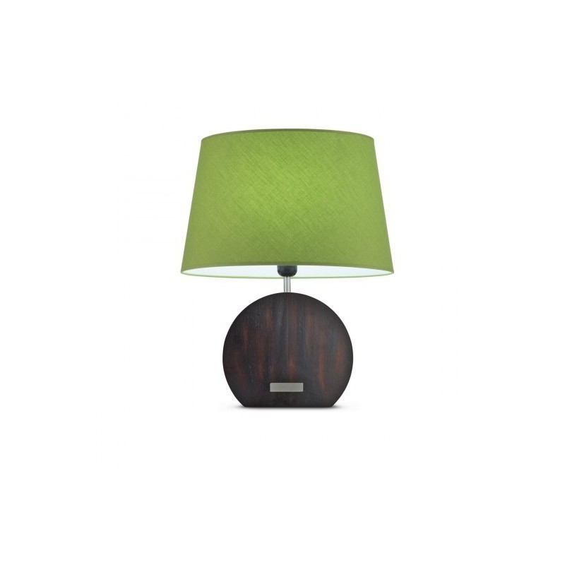 Wood Banjo table lamp + Olive Green Canvas lampshade, Touch switch