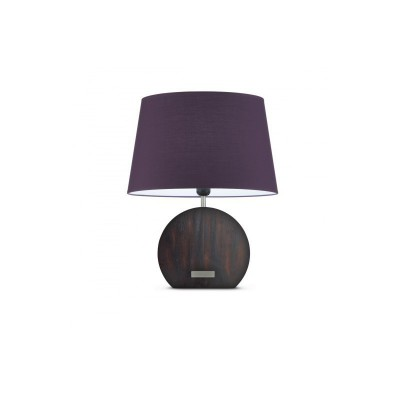 Wood Banjo table lamp + Violet Canvas lampshade, Touch switch