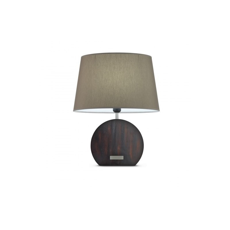 Lámpara de mesa Banjo madera + Pantalla Tela Gris, Encendido táctil