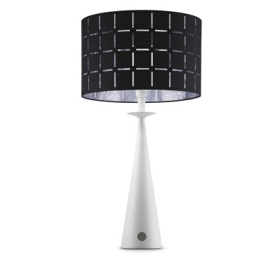 Wood Faro table lamp + Black Canvas With Silver Inwardd lampshade, Touch switch