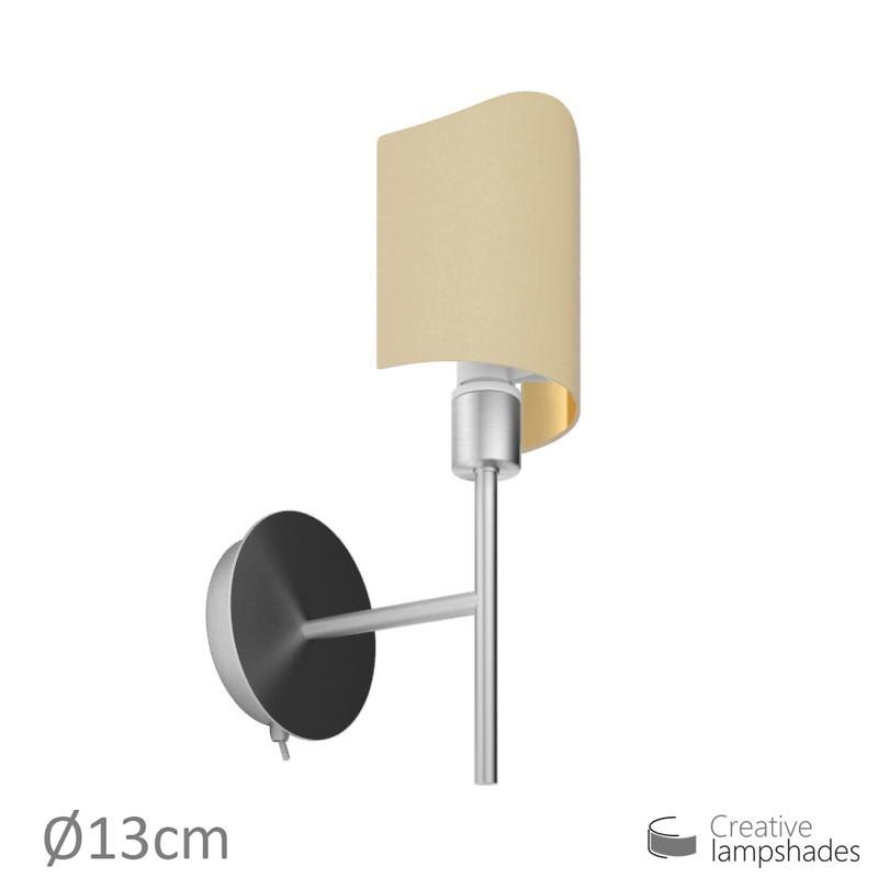 lampenschirm halbrund zylinder f r wandleuchte jakobsmuschel haselnuss leinwand innen gold. Black Bedroom Furniture Sets. Home Design Ideas