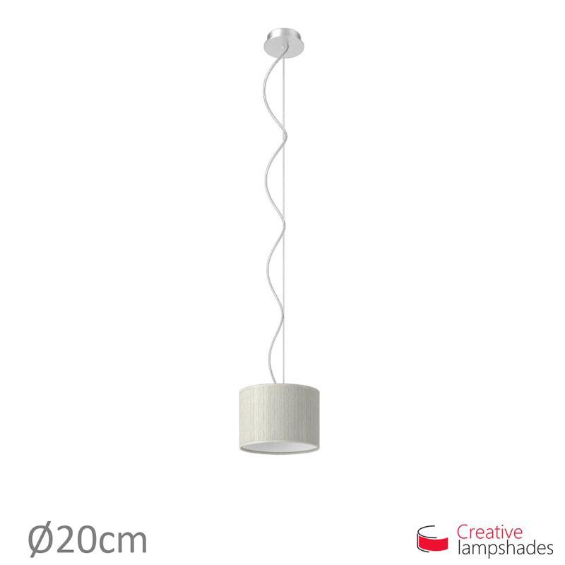 Lampenschirm Zylinder weiß Plissee Organza