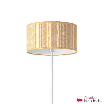 Lampenschirm Zylinder Beigebraun Plissee Organza