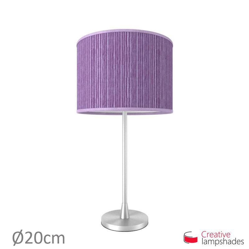 Violet Plissé Organza Cylinder Lamp Shade