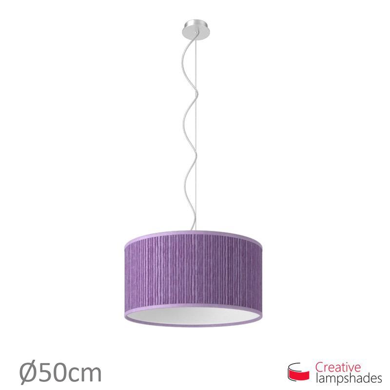 Abat-Jour Cylindre Revêtement Organza Plissé Violet