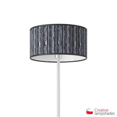 Black Plissé Organza Cylinder Lamp Shade