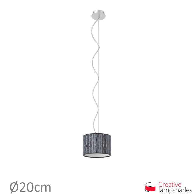 Lampenschirm Zylinder schwarz Plissee Organza