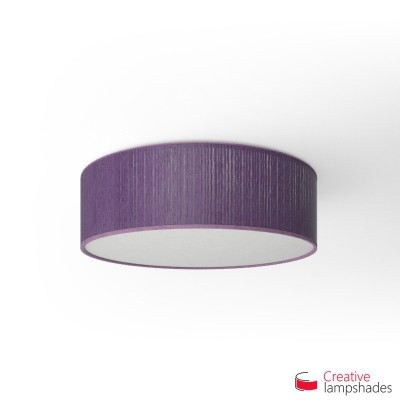 Round ceiling lamp with Violet Plissé Organza covering