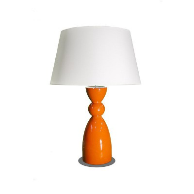 Lampe de table base orange et abat-jour sable