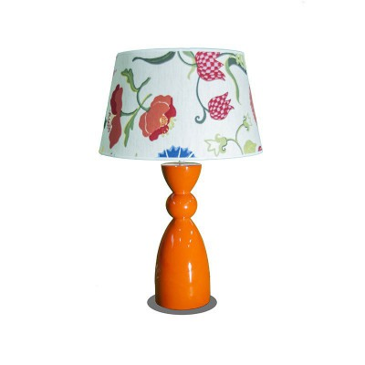 Lampe de table base orange et abat-jour à fleur