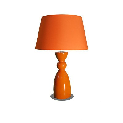 Orange ceramic table lamp with Mandarine Orange lampshade