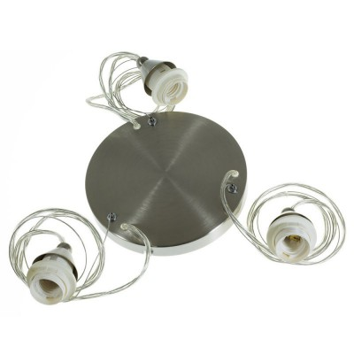Round smooth metal pendant with 3 lights E27 max 60W