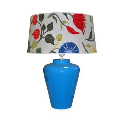 Lampe de table base turquoise et abat-jour à fleur