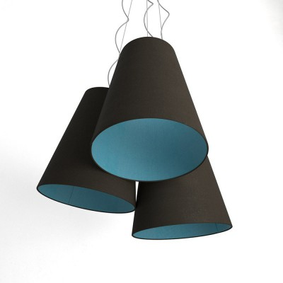 Trittico Multi-pendant Tri-cone lampshade - ash and heavenly blue