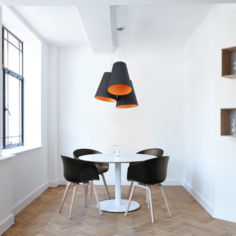 triptyque suspension 3 abat jour en c ne bicolore noir mandarine. Black Bedroom Furniture Sets. Home Design Ideas