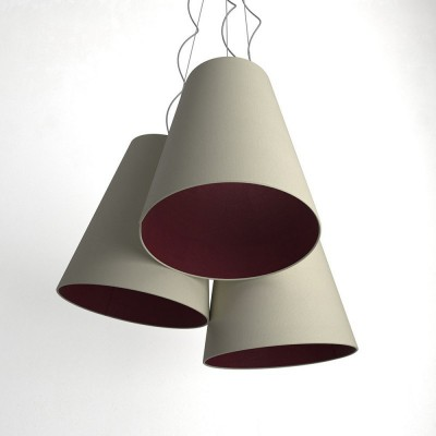 Trittico Multi-pendant Tri-cone lampshade - hazelnut and burgundy