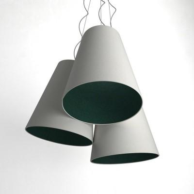 Triptyque suspension 3 abat-jour en cône bicolore  sable-pétrole