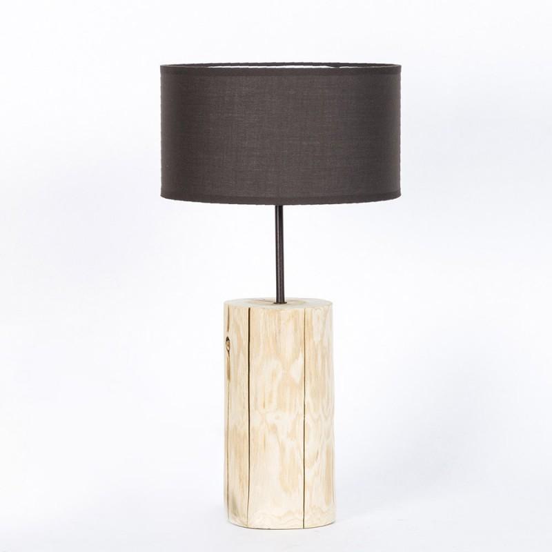Natural wood table lamp. Basic line. Brown lampshade, diameter 26cm, h. 50cm.