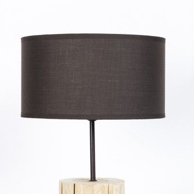 Natural wood table lamp. Basic line. Brown lampshade, diameter 26cm, h. 50cm.