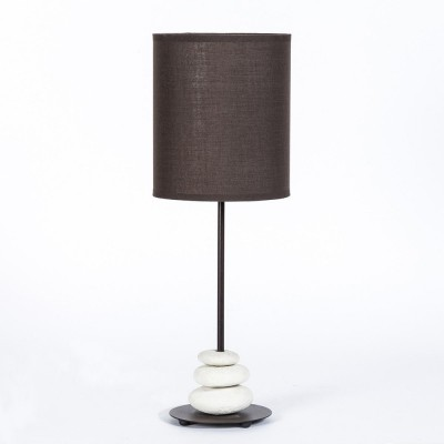 Metal and natural stone table lamp. Basic line. Brown lampshade, diameter 18cm, h. 51cm.