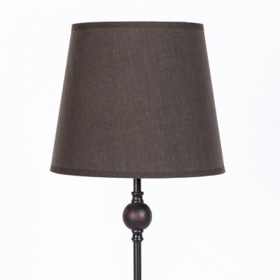 Lámpara de mesa metal y madera. Línea Basic. Pantalla Marrón diámetro 20cm, h. 59cm.