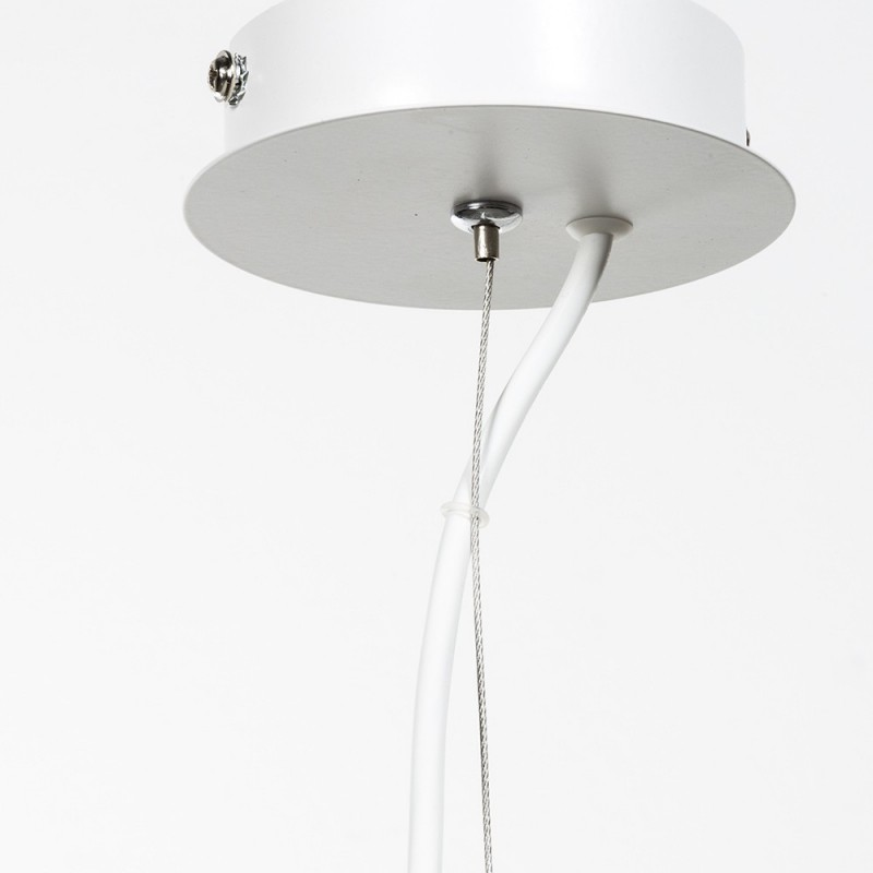 Round white lacquered pendant single lamp E 27 max 60 W