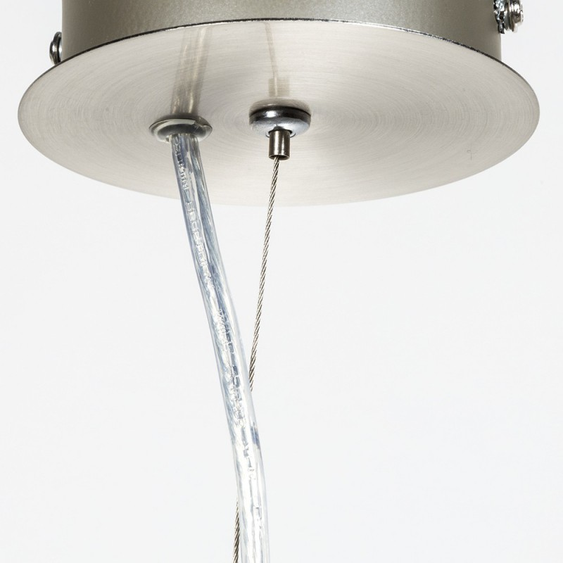 Suspension ronde en métal satiné 1 lumière E 27 max 60 w