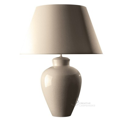 Roundish base table-lamp in milky ceramic, with milky  canvas lampshade, E27 fitting, Max 60W