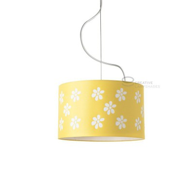 Complete pendant external in carved yellow cotton and internal in varnished white, E27 fitting Max 60W
