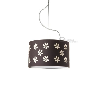 Complete pendant external in carved brown cotton and internal in hazel cotton, E27 fitting Max 60W