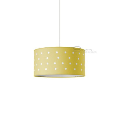 Complete pendant external in carved yellow cotton and internal in sand cotton, E27 fitting Max 60W