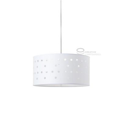 Lampe suspension complète laque Blanc avec fentes Pois avec culot E27 Max 60W