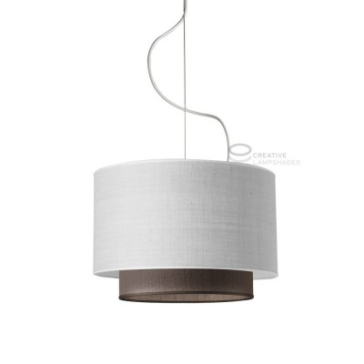 Complete pendant external lampshade in light jute and internal lampshade in brown jute,  E27 fitting Max 60W