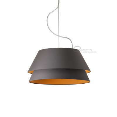Complete double pendant external in anthracite cotton internal in tangerine cotton, E27 fitting Max 60W