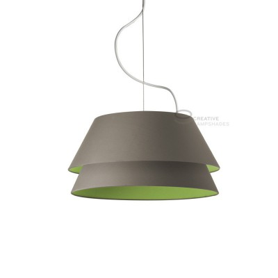 Complete double pendant external in anthracite cotton internal in olive green cotton, E27 fitting Max 60W