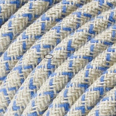 Snake for lampshade with Lozenge Steward Blue textile cable