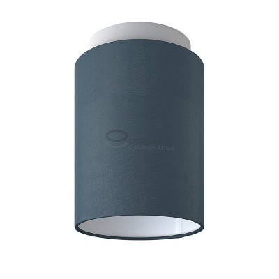 Fermaluce: wall or ceiling lightspot in white metal with Petrol Blue Cinette Cylinder Lampshade Ø 15 cm h18 cm