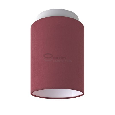 Fermaluce: wall or ceiling lightspot in white metal with Burgundy Canvas Cylinder Lampshade Ø 15 cm h18 cm