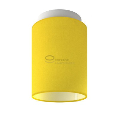Fermaluce: wall or ceiling lightspot in white metal with Bright Yellow Canvas Cylinder Lampshade Ø 15 cm h18 cm