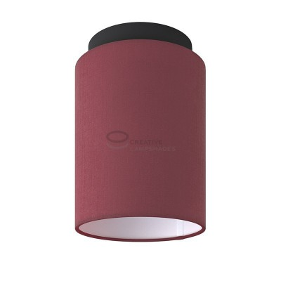 Fermaluce: wall or ceiling lightspot in black metal with Burgundy Canvas Cylinder Lampshade Ø 15 cm h18 cm
