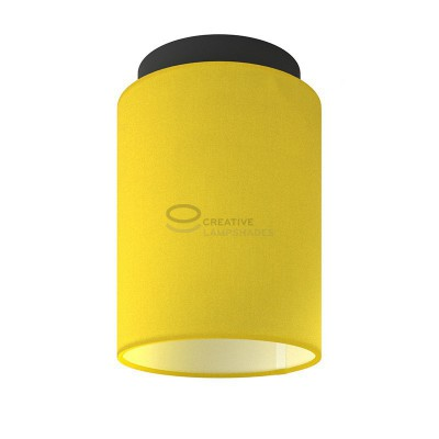 Fermaluce: wall or ceiling lightspot in black metal with Bright Yellow Canvas Cylinder Lampshade Ø 15 cm h18 cm