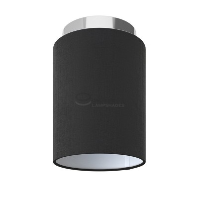 Fermaluce: wall or ceiling lightspot in chrome metal with Black Canvas Cylinder Lampshade Ø 15 cm h18 cm