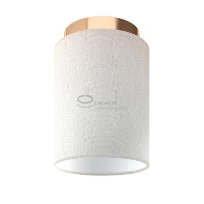 Fermaluce: wall or ceiling lightspot in copper finish metal with White Raw Cotton Cylinder Lampshade Ø 15 cm h18 cm