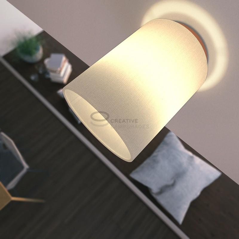 Fermaluce: punto luce a parete o a muro in metallo ramato con Paralume Cilindro Linone Bianco, Ø 15cm h18cm