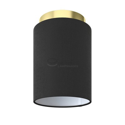 Fermaluce: wall or ceiling lightspot in brass finish metal with Black Canvas Cylinder Lampshade Ø 15 cm h18 cm